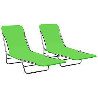 vidaXL Taitettavat aurinkotuolit 2 kpl. Teräs ja kangas Vihreä