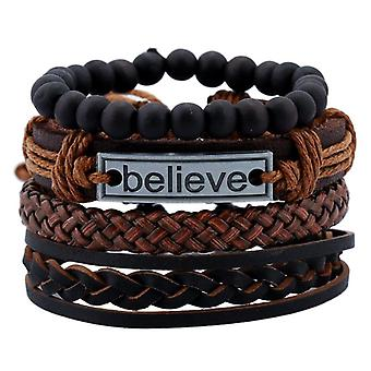 Fashion Time-limited Magnet Explosion Of Believe Cowhide Leather Bracelet Men's