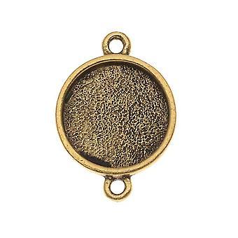 Nunn Design Antiqued 24kt Gold Plated Pewter Collage Bezel Round 2-Loop Link 12.8mm