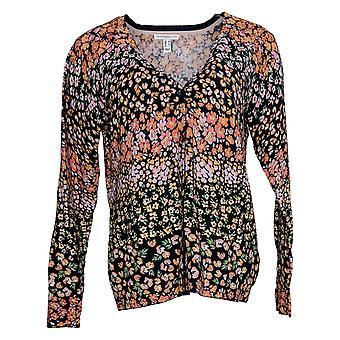 Isaac Mizrahi Live! Dames trui Reg Floral Cardigan Zwart A354773