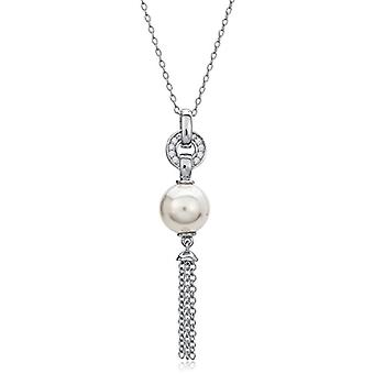 Eye Candy women's necklace silver necklace 925 rhodium hanging pearl with 12 white zircons ECJ-nl0091