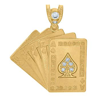 10k Yellow Gold Mens CZ Cubic Zirconia Simulated Diamond Playing Cards Royal Flush Charm Collana pendente Regali