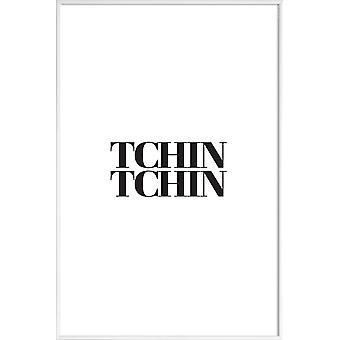JUNIQE Print -  Tchin Tchin - Typografie & Symbole Poster in Schwarz & Weiß