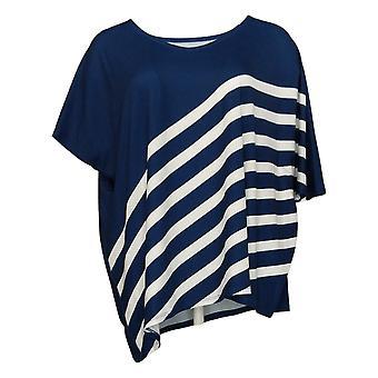 Elizabeth & Clarke Women's Top Striped Tunic w/ Asymmetric Hem Blue