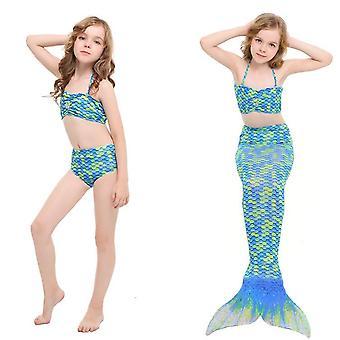Uimapuku split bikinit tytöt merenneito lasten kolmiosainen käyttää uimapuvut