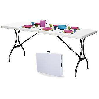 Table pliante pour extérieur 180 x 70 cm Blanc – Pliable dans la valise