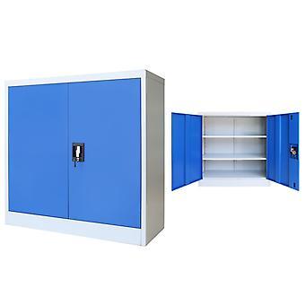 Kantoorkast 90X40X90 Cm Metaal Grijs En Blauw