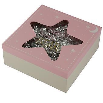 Twinkle Twinkle Star Wooden Baby Girl Keepsake Box
