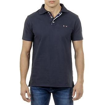 Andrew Charles Men Polo Neck Collar Contrast Slim Fit Navy