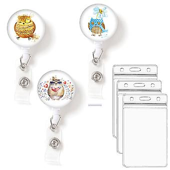 Leuyuan Pack Of 3 Retractable Id Badge Reelswith Badge Card Cases