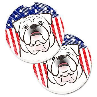 Caroline's Treasures American Flag & White English Bulldog Set di 2 Cup Holder Car Coasters BB2150CARC, 2.56, Multicolor