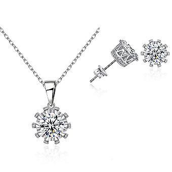Krone Halskette und Ohrring Set verkrustet mit Kristallen von Swarovski - Silber