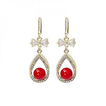 Water Drop Set With Diamond Red Beads Long Pearl New Year Bride Earrings