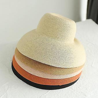 Grote dakrand stro hoed vrouwelijke zomer zonnebrandcrème basin hoed strand vakantie zonnehoed visser hoed, kleur: