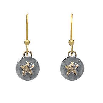 Silver och Guldstjärna Drop Örhängen
