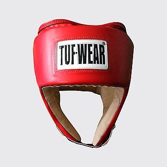 Tuf Wear Junior PU Open Face Headguard med PU Mocka Röd
