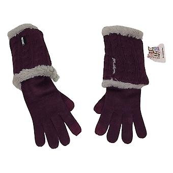MUK LUKS Women's 3-in-1 Cable Knit w/ Faux Fur Purple Gloves A257863