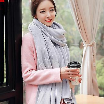 Women's Warm Shawl Winter Warm Large Scarf Pure Color Cashmere Scarf Light Grey