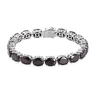 """19.7Ct Elite Shungite Tennis Armband in Platinum Plated Sterling Silver 7"""""""