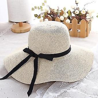 Eenvoudige opvouwbare brede rand stro zon strand hoed (55-58cm) (Beige)