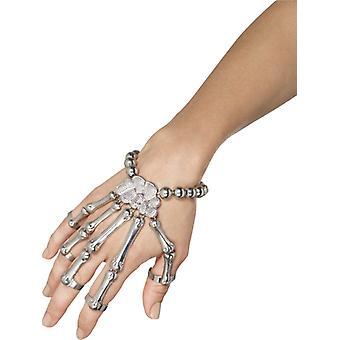 Bracelet argent squelette gant Halloween