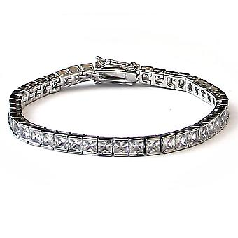 Platinum Plated CZ Tennis Bracelet Square Cut 4mm