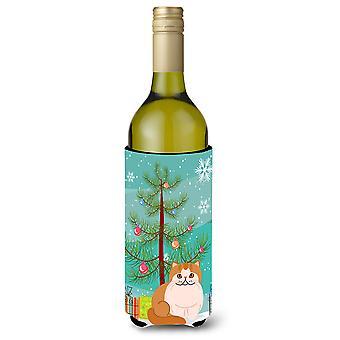 Exotic Shorthair Cat Merry Christmas Tree Wine Bottle Beverge Insulator Hugger