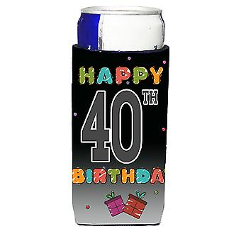 Happy 40th Birthday Ultra Beverage Insulators for slim cans
