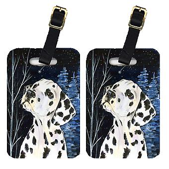 Carolines Treasures  SS8370BT Starry Night Dalmatian Luggage Tags Pair of 2