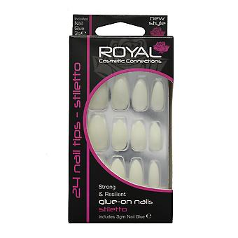 Royal 24 Glue-On Strong & Resilient Stiletto Full False Fake Nails Nail Tips