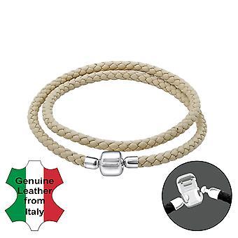 Plain - 925 Sterling Silver + Leather Cord Bead Bracelets - W22513X