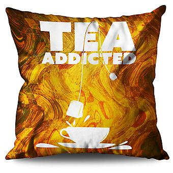 Tea Addict Drink Food Linen Cushion 30cm x 30cm | Wellcoda