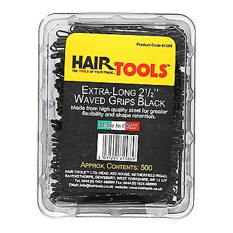 Hairtools Extra Long 2.5 inch Waved Grips Black