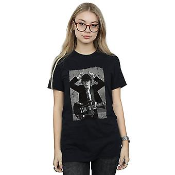 AC/DC Women's Angus Young Distressed Photo Boyfriend Fit T-Shirt