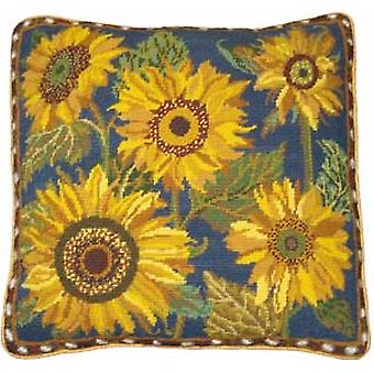 Blue Sunflower Dance Needlepoint Canvas