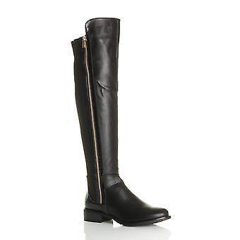 Ajvani kvinnors låga block klack kontrast sträcka orm guld zip knä höga över knä stövlar