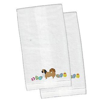 Pekingese Easter White Embroidered Plush Hand Towel Set of 2
