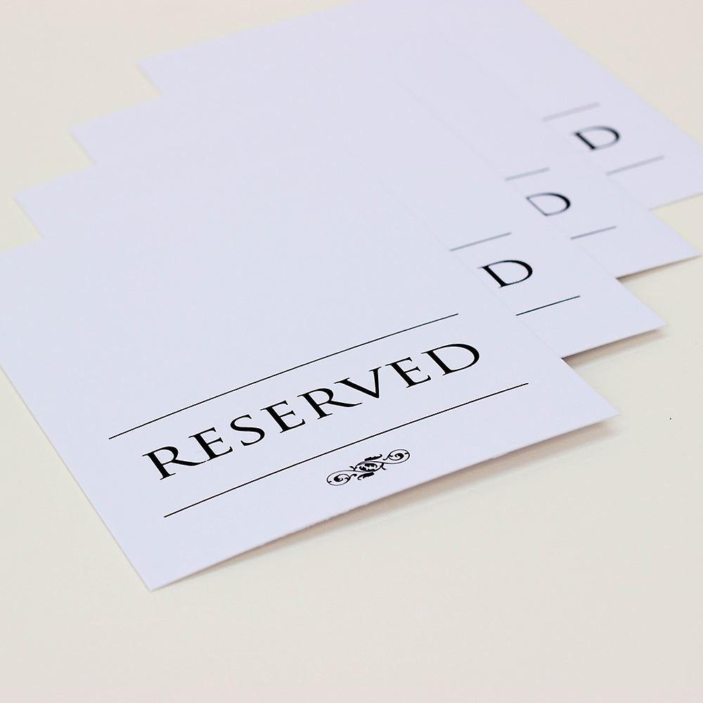 Reserved Wedding Card Set of 4 RESERVED signs White and Black Traditional