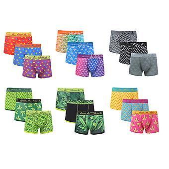Men es Unkraut Blätter 3 Pack Boxer-Shorts Cotton Rich Unterwäsche Farbe sortiert
