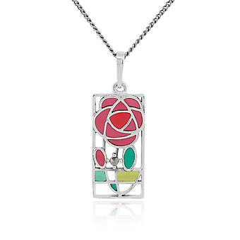 Rennie Mackintosh Round Marcasite & Enamel Pendant Necklace in 925 Sterling Silver 214N509001925