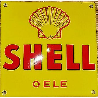 Shell Oele Stove Enamelled Badge 120Mm X 120Mm