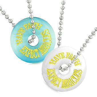 Amuletit luottavat odottaa ihmeitä parhaat ystävät rakkaus parit sininen valkoinen simuloitu kissa silmän kaulakorut