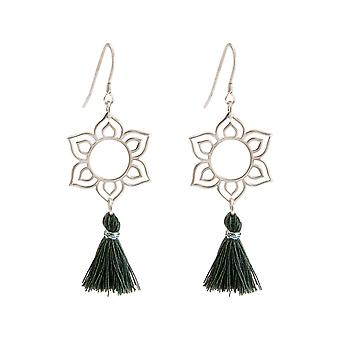 Gemshine Women's Earrings Silver Lotus Flower Mandala Tassel Grey YOGA