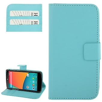 Cell phone case horizontal flip with credit card slots for LG Google nexus 5 / E980 light blue