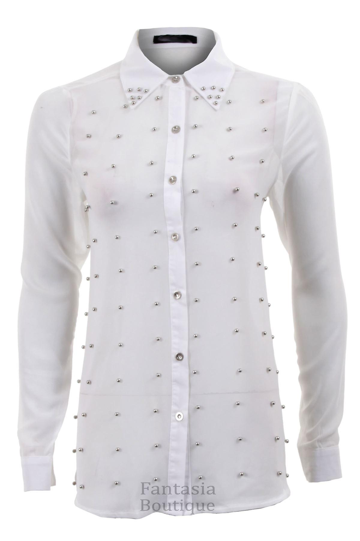 Ladies Chiffon Long Sleeve Silver Studded Front Collar Women's Blouse Shirt Top