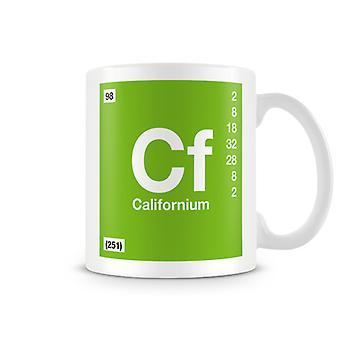 Scientific Printed Mug Featuring Element Symbol 098 Californium