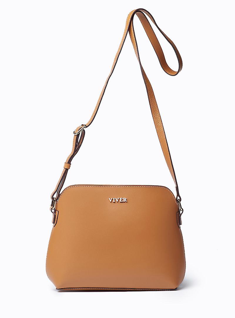 Viver Luna Tan Leather Crossbody Bag