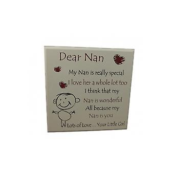 Dear Nan from Your Little Girl Gift Plaque