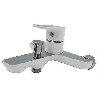 White/Chrome Bathroom Bath Elegant Wall Mounted Mixer Single Lever Tap