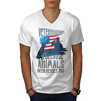 Veterinarian Hero Men WhiteV-Neck T-shirt | Wellcoda